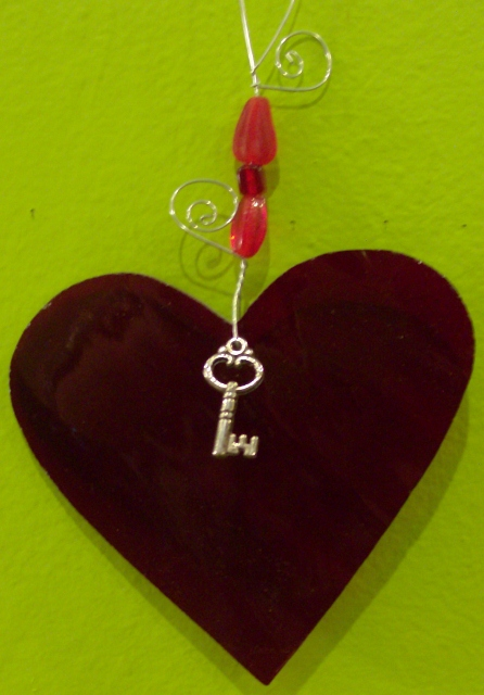Key to my heart staind glass ornament By: Clara Foshee